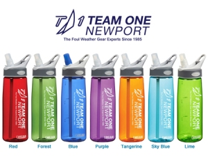 Water bottles from Team One Newport