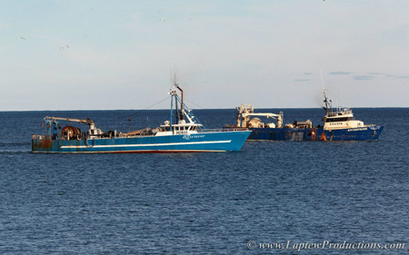 Industrial fishing boat. Industrial trawling at the mouth of Narragansett ...