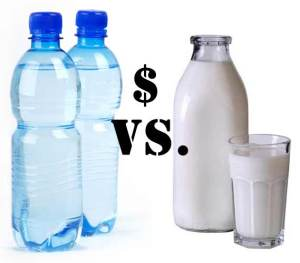 The cost of bottled water versus milk