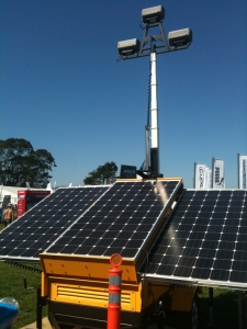 Solar powered security light at America's Cup World Series in San Francisco