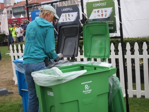 Green Team sorting at recycling station.