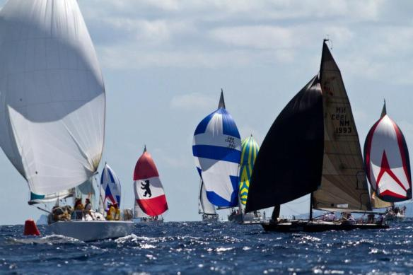 Colorful spinnakers at the 2013 St. Maarten Heineken Regatta. Photo credit ©Bob Grieser/OUTSIDEIMAGES.COM