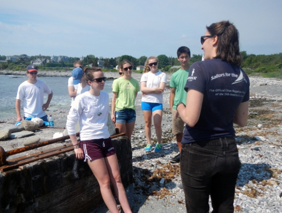 Program Director Annie Brett teaches sailing instructors about our newest Rainy Day Kit.
